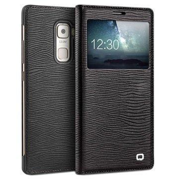 Huawei Mate S Qialino Smart Läpällinen Nahkakotelo Liskonnahka Musta