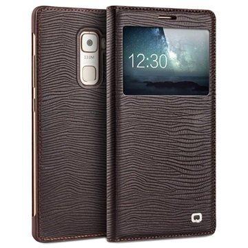 Huawei Mate S Qialino Smart Läpällinen Nahkakotelo Liskonnahka Ruskea