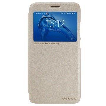 Huawei Nova Plus G9 Plus Nillkin Sparkle Ikkunallinen Kotelo Kulta