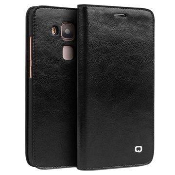 Huawei Nova Plus G9 Plus Qialino Classic Lompakkomallinen Nahkakotelo Musta
