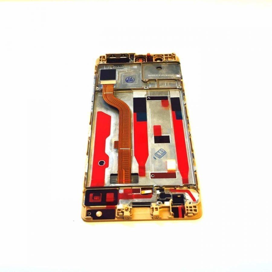 Huawei P9 LCD ja kosketuspaneeli rungolla kulta
