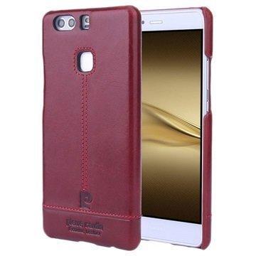 Huawei P9 Plus Pierre Cardin Nahkapinnoitettu Kotelo Viininpunainen