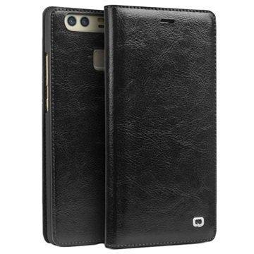 Huawei P9 Plus Qialino Classic Lompakkomallinen Nahkakotelo Musta