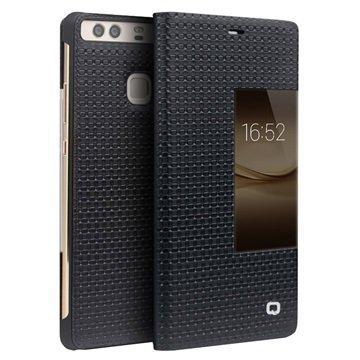 Huawei P9 Plus Qialino Smart View Flip Case Grid Texture Black