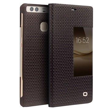 Huawei P9 Plus Qialino Smart View Flip Case Grid Texture Brown
