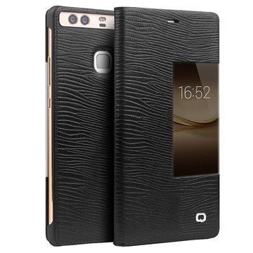 Huawei P9 Plus Qialino Smart View Flip Case Lizard Skin Black