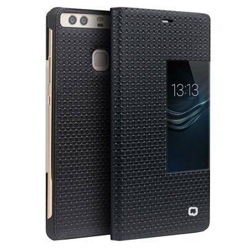 Huawei P9 Qialino Smart View Flip Case Grid Texture Black