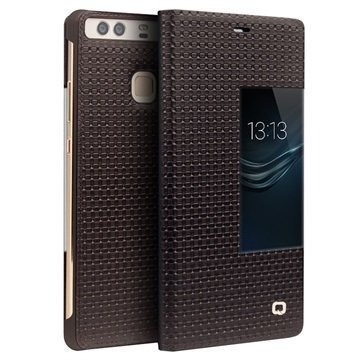 Huawei P9 Qialino Smart View Flip Case Grid Texture Brown