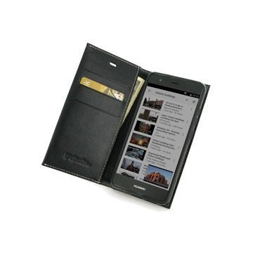 Huawei nova PDair Deluxe Book Type Nahkakotelo Musta
