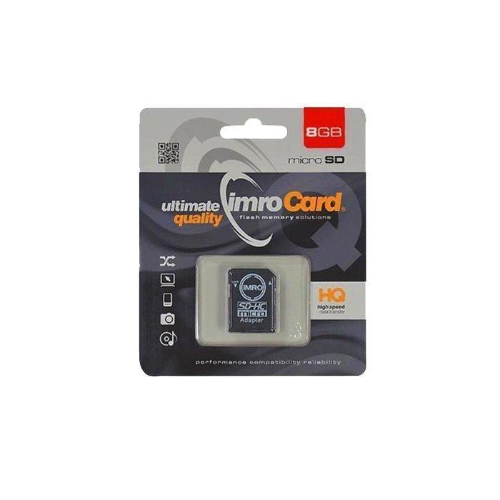 IMRO microSDHC Muistikortti 8 Gt Class 10 Samsung muistipiirillä Mukana SD adapteri