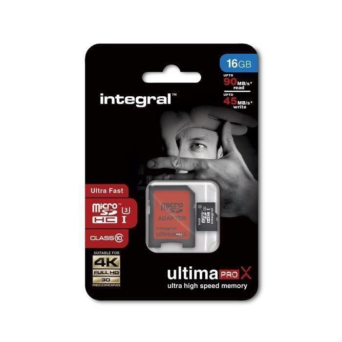 INTEGRAL micro SDHC Muistikortti 16 Gt Class 10 HC-I SD Adapterilla