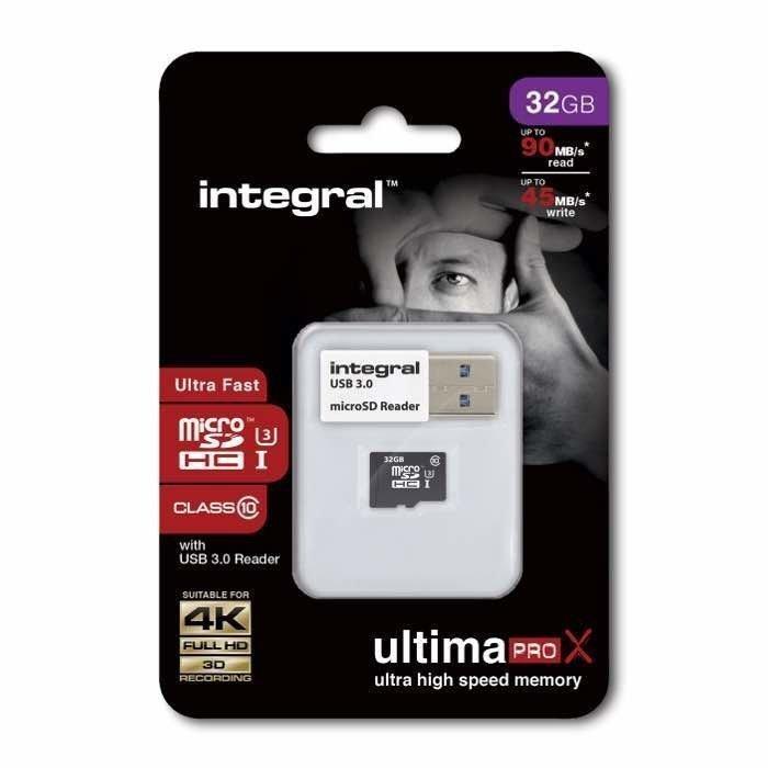INTEGRAL micro SDHC Muistikortti 32 Gt Class 10 UHS-1 U3 USB 3.0 adapterilla