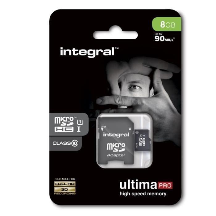 INTEGRAL micro SDHC Muistikortti 8 Gt Class 10 Huippu nopea SD adapterilla
