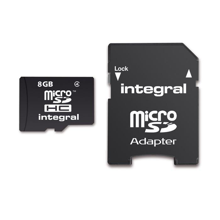 INTEGRAL micro SDHC Muistikortti 8 Gt Class 4 SD adapterilla