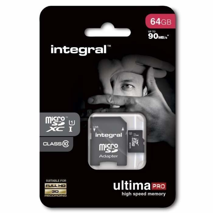 INTEGRAL micro SDXC Muistikortti 64 Gt Class 10 Huippu nopea SD adapterilla