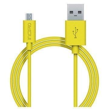 Incipio USB 2.0 / Micro USB Lataus & Synkronointikaapeli Keltainen