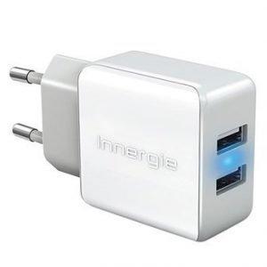 Innergie PowerJoy Plus Dual USB Seinälaturi 3.4A Valkoinen