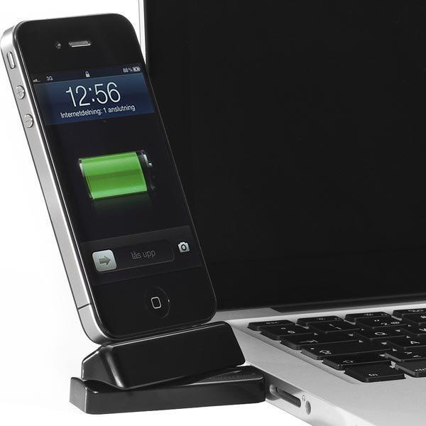 Innovazione USB-telakka iPhonelle/iPodille telakkaliitos musta