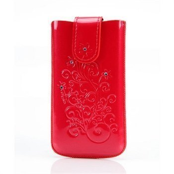 Iphone 4 / 4S DC SRC Protect Silvery Nahkakotelo Punainen / Valkoinen Kivi