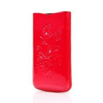 Iphone 4 / 4S DC SRC Slide Silvery Nahkakotelo Punainen / Valkoinen Kivi