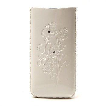 Iphone 4 / 4S DC SRC Slide Silvery Nahkakotelo Valkoinen/ Valkoinen Kivi