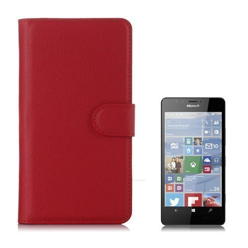 Jensen Microsoft Lumia 950 Nahkakotelo Standillä Punainen