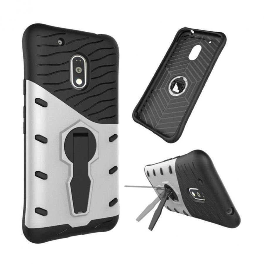 Jernside Motorola G4 Play Joustava Hybridi Muovikuori Hopea