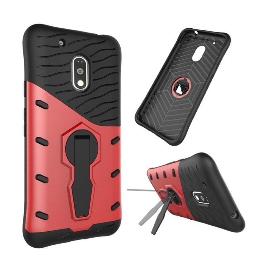 Jernside Motorola G4 Play Joustava Hybridi Muovikuori Punainen