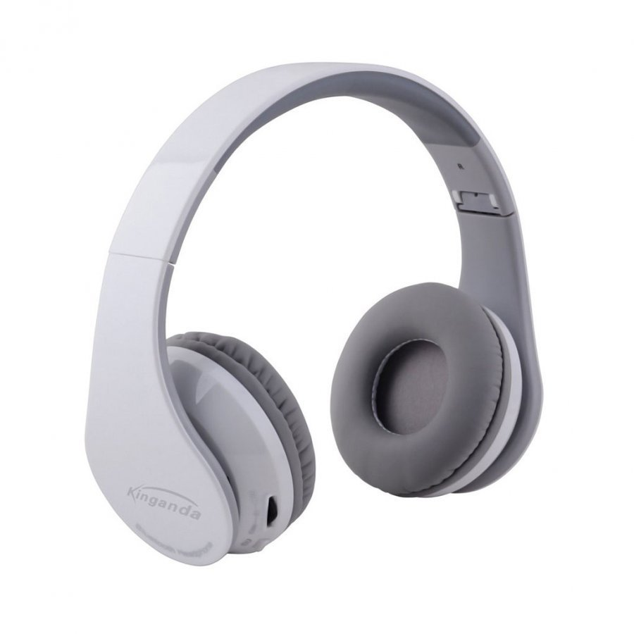 Kinganda Taitettavat Bluetooth Kuulokkeet Mikrofonilla Valkoinen