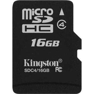 Kingston 16GB microSDHC Class 4 Flash Card Single Pack