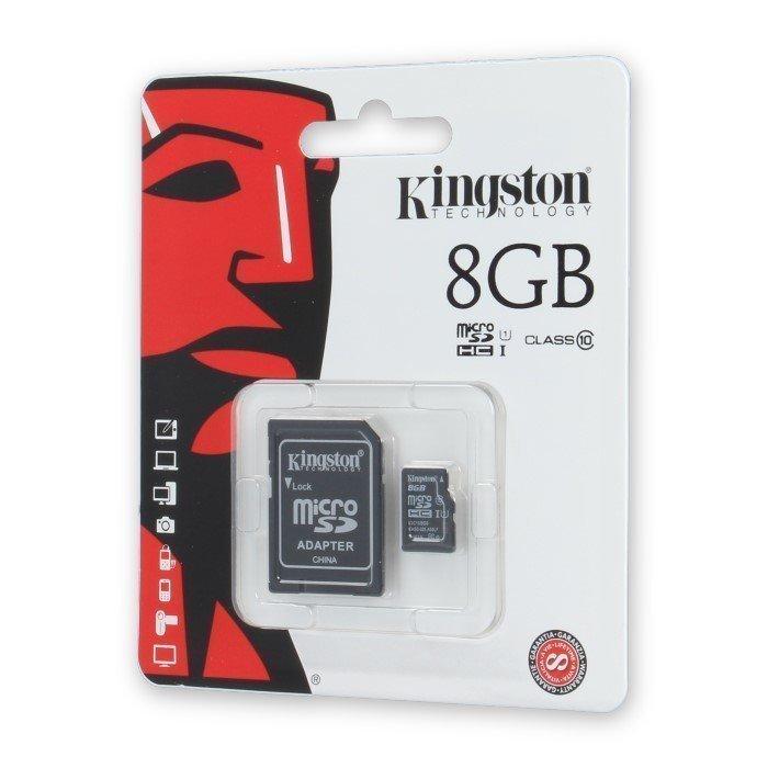 Kingston 8GB microSDHC Class 10 UHS-I 45MB/s Lukunopeus muistkortti ja SD Sovitin