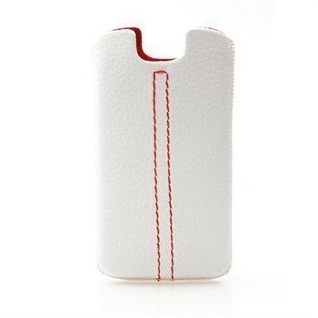 Konkis Double Stitch Nahkakotelo Valkoinen / Punainen