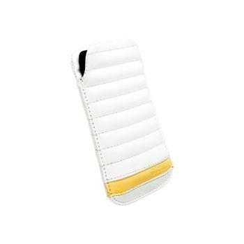Krusell Idre Suojapussi iPhone 5 Sony Xperia J Motorola Razr i Razr M Valkoinen / Keltainen