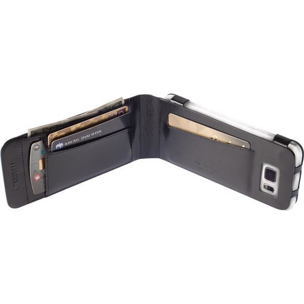 Krusell Kalmar Wallet Case Nahkakotelo Galaxy S6/S6 Edge musta