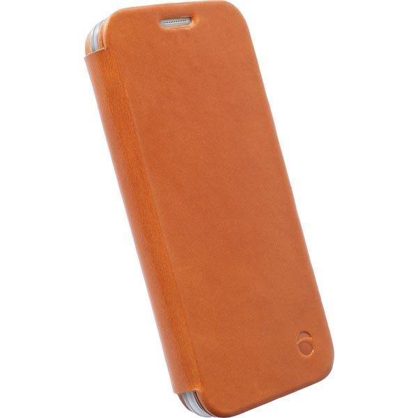 Krusell Kiruna FlipCase Nahkakotelo Galaxy S6/S6 Edge ruskea