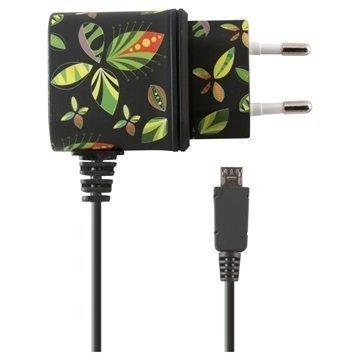 Ksix Micro USB Matkalaturi Kukat Musta