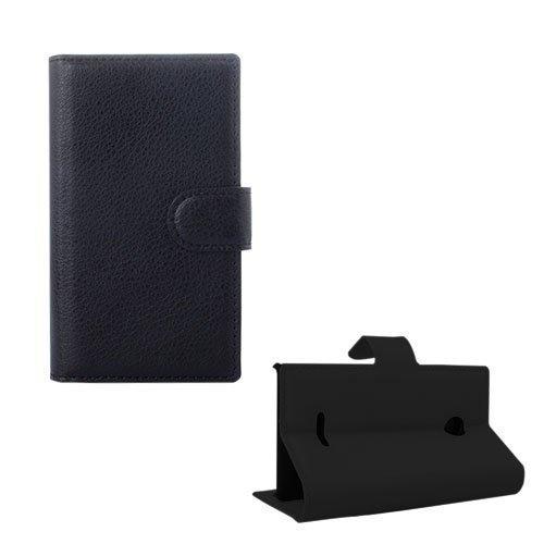 Lönnrot Microsoft Lumia 435 Nahkakotelo Korttitaskuilla Musta