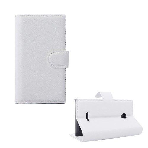 Lönnrot Microsoft Lumia 435 Nahkakotelo Korttitaskuilla Valkoinen
