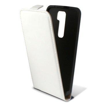 LG G2 Ksix Pystysuuntainen Nahkainen Läppäkotelo Valkoinen