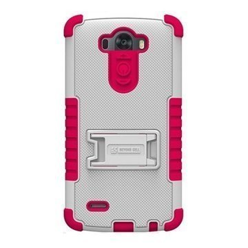 LG G3 Beyond Cell Tri Shield Case White / Hot Pink