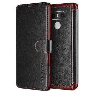 LG G6 VRS Design Dandy Layered Wallet Case Black / Wine Red