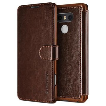 LG G6 VRS Design Dandy Layered Wallet Case Dark Brown / Brown