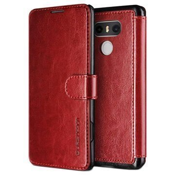 LG G6 VRS Design Dandy Layered Wallet Case Wine Red / Black