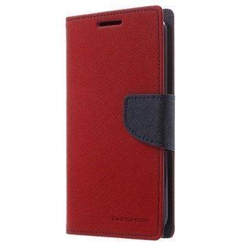 LG K10 Mercury Goospery Fancy Diary Lompakkokotelo Punainen / Tummansininen
