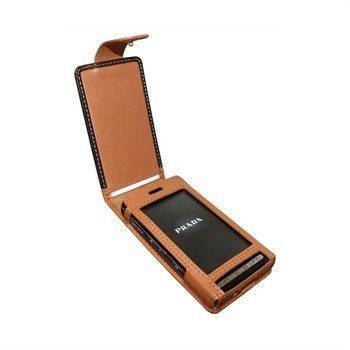 LG KE850 Prada Piel Frama Classic Snap Nahkakotelo Musta / Parkittunahka