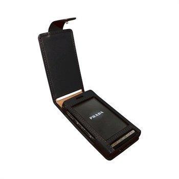 LG KE850 Prada Piel Frama Classic Snap Nahkakotelo Musta
