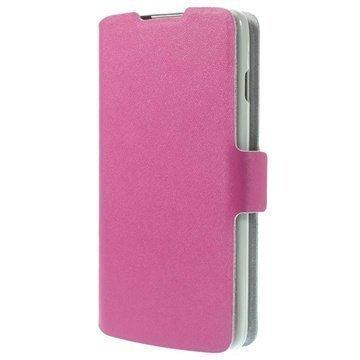 LG L90 D405 Doormoon Wallet Nahkakotelo Kuuma Pinkki