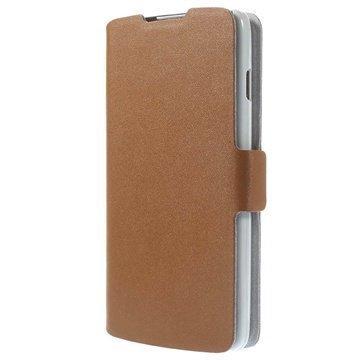 LG L90 D405 Doormoon Wallet Nahkakotelo Ruskea