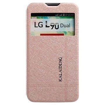 LG L90 Dual D410 Kalaideng Iceland II Läpällinen Nahkakotelo Kulta