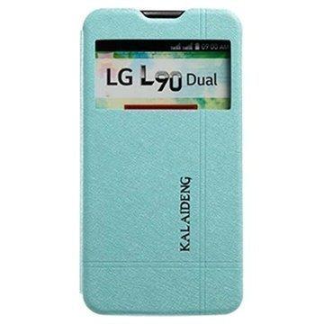 LG L90 Dual D410 Kalaideng Iceland II Läpällinen Nahkakotelo Sininen